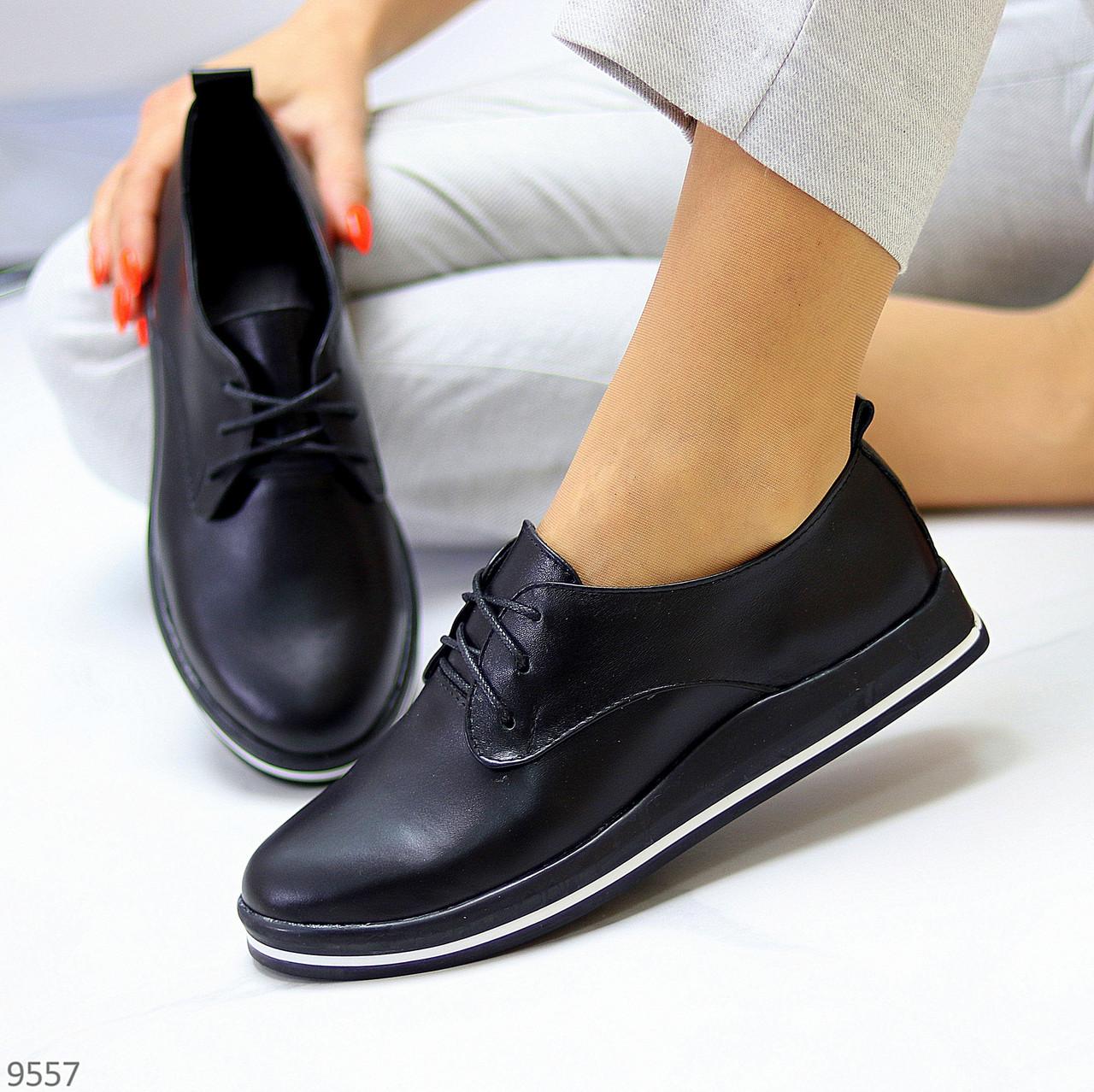 Женские туфли черные на шнурках натуральная кожа