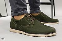 Туфли мужские хаки из натурального нубука, фото 1