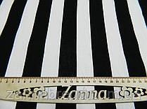 Летняя ткань лён (3,5 см) черные и белые полосы