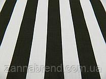 Летняя ткань лён (3,5 см) полосы темный хаки и белые