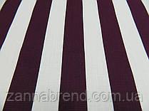 Летняя ткань лён (3,5 см) баклажановые и белые полосы