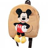 Рюкзак детский для детского садика с Микки Маусом дя малышей бежевый 35см, фото 3