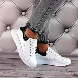 Женские кроссовки на шнуровке кожаные, белые + черный  V 1352
