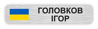 Бейдж серебряный металлический для полицейского на булавке или магните