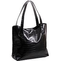 Женская кожаная сумочка. Модель 01 черный кайман