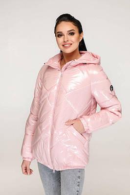 Демісезонна рожева куртка лакова