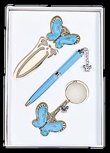 """Набір подарунковий """"Fly"""": ручка кулькова + брелок + закладка, синій"""