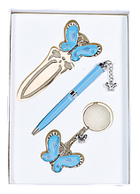 """Набор подарочный """"Fly"""": ручка шариковая + брелок + закладка, синий"""
