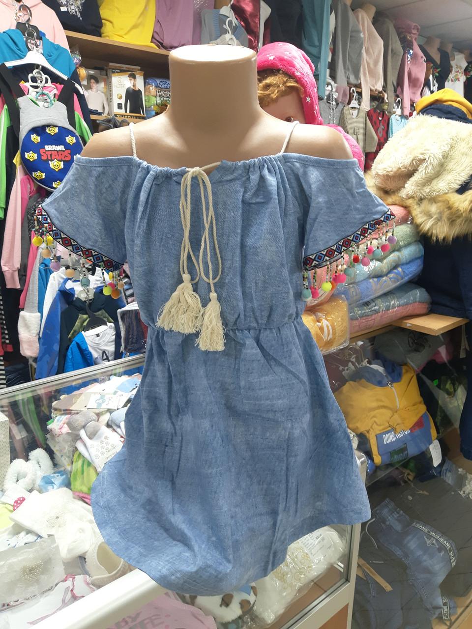 Літнє плаття сарафан джинсовий для дівчинки р. 110 - 152