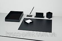 Набор настольный CORMAC, искусственная кожа, 6 предметов, черный