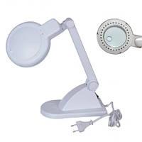 ZD-121 лупа-лампа с LED подсветкой, настольная, круглая, 3X, 8X, 3W, Ø90мм, белая, Zhongdi, линза стекло