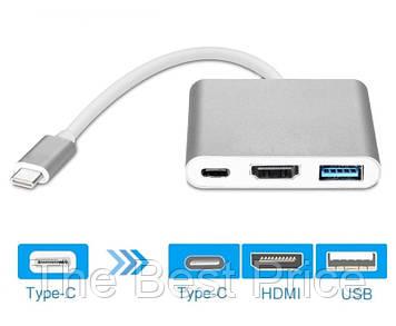 Перехідник адаптер 3 в 1 USB Type-C - HDMI / USB 3.0 / USB Type-C Silver (6249)
