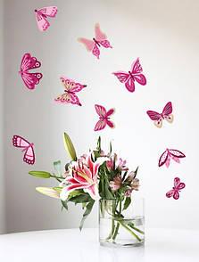 Набор декоративных наклеек на стены Малиново-розовые бабочки, 20 шт.