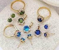 Шикарный комплект покрытие золотом 18к . синие цирконы