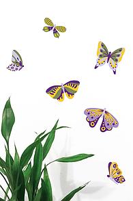 Набор декоративных наклеек на стены Фиолетово-зеленые бабочки, 20 шт.