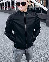 Мужская кожаная куртка из кож зама черная | Стильная кожанка осень весна