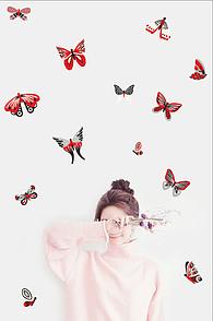 Набор декоративных наклеек на стены Красно-серые бабочки, 20 шт.