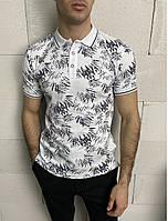 Мужская футболка поло с коротким рукавом белого цвета (белая) с черным растительным принтом Турция