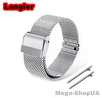 Ремешок браслет металлический стальной для умных смарт часов 20 мм V1 Серебристый. Ремінець для годинника 20mm