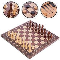 Настольная игра 3 в1 шахматы, нарды, шашки деревянные на магнитах Zelart Chess 7704 (39x39 см)