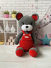 Мягкая вязаная плюшевая игрушка мишка медведь ручной работы.