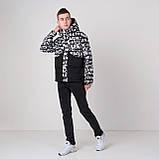 Чоловіча демісезонна куртка, чорно-білого кольору, фото 3