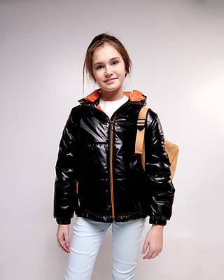 Ксюша черная детская подростковая куртка демисезонная для девочки