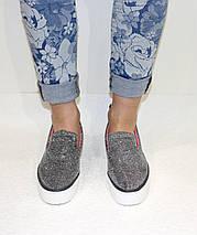 Женские слипоны на толстой подошве с блесточками, серебристые, фото 2
