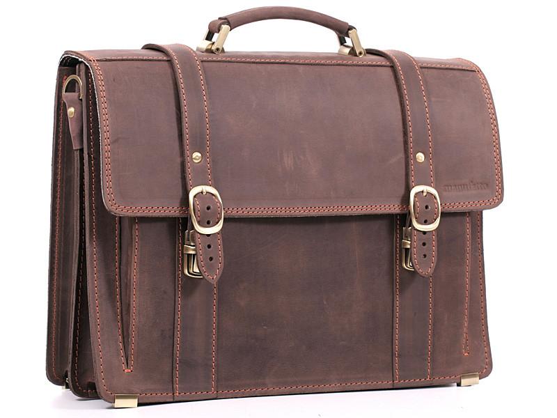 Деловой эксклюзивный мужской кожаный портфель ручной работы с плечевым ремнем.