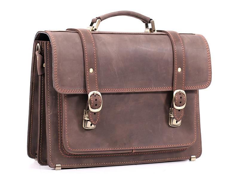 Деловой классический мужской кожаный портфель ручной работы с плечевым ремнем. Цвет коричневый