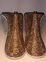 CARESS-401 с золотыми стразами Силиконовые прозрачные шлепанцы, невысокий каблук. 10 см каблук, 0,3 см платформа