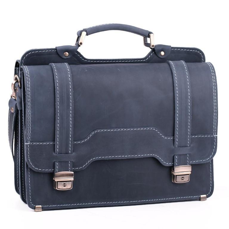 Деловой элегантный мужской кожаный портфель ручной работы с плечевым ремнем