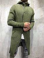 Стильная мужская мантия накидка зеленая осенняя весенняя | Кардиган на молнии длинный с капюшоном