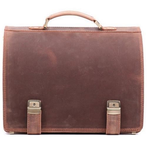 Деловой оригинальный мужской кожаный портфель ручной работы с плечевым ремнем. Цвет коричневый