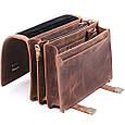 Діловий оригінальний чоловічий шкіряний портфель ручної роботи з плечовим ременем. Колір коричневий, фото 3