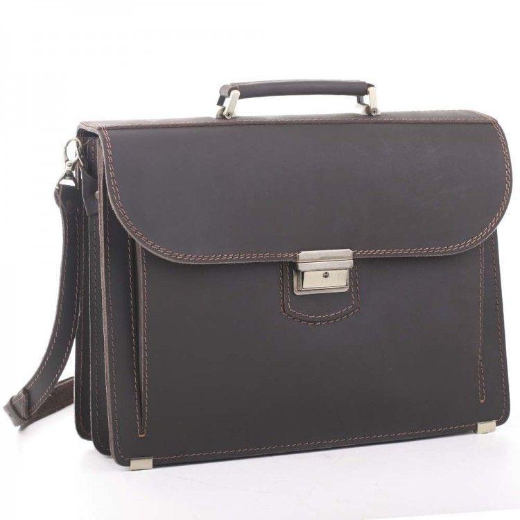 Деловой мужской кожаный портфель ручной работы с плечевым ремнем. Цвет коричневый
