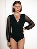Женский нарядный боди-блузка рукава из сеточки черный темно синий бордовый, фото 5