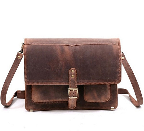 """Портфель-сумка через плече чоловіча шкіряна ручної роботи """"Листоноша"""". Колір коричневий"""