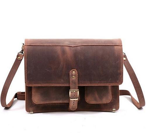 """Портфель-сумка через плечо мужская кожаная ручной работы """"Почтальон"""". Цвет коричневый"""