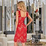 Женское трикотажное платье миди из гипюра голубое красное черное, фото 6