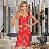 Женское трикотажное платье миди из гипюра голубое красное черное, фото 8