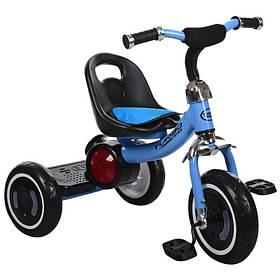 Велосипед  детский три кол.EVA,свет/муз,зад.подножка,накладка на сид,голубой
