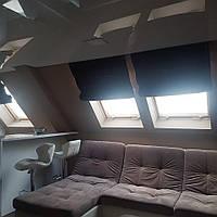 Римская штора на мансардное окно, веревочный карниз, блэкаут, 1000х1700 мм