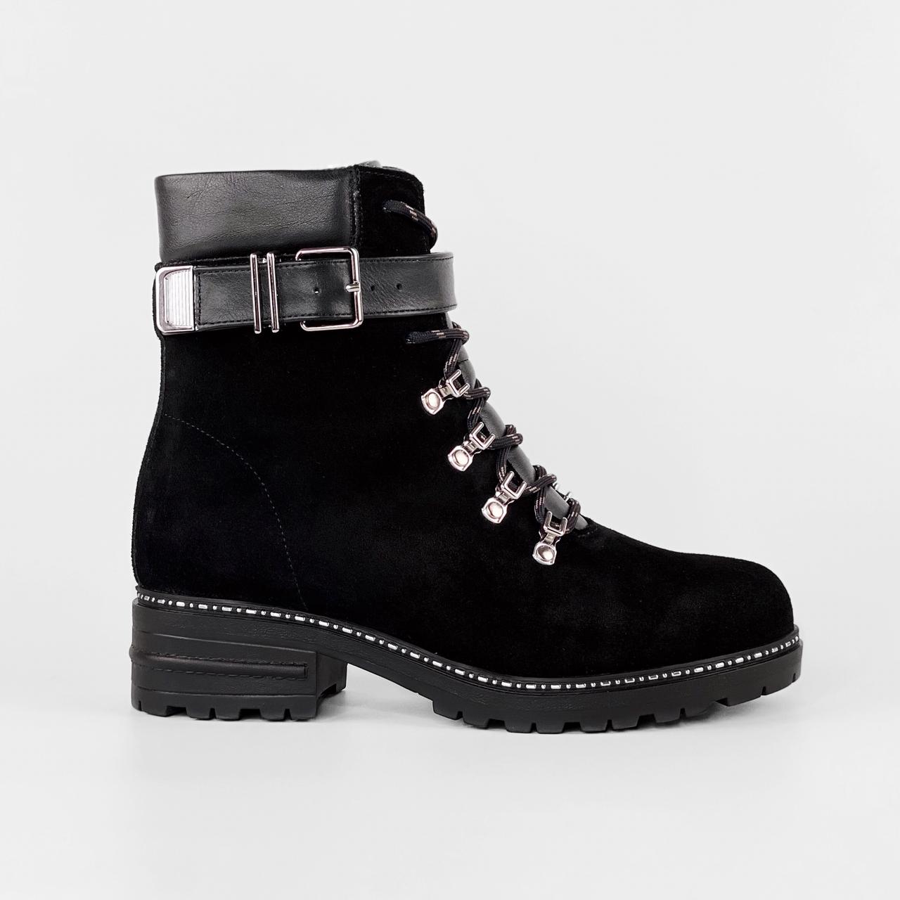 Ботинки женские замшевые черные на шнурках с ремнем MORENTO зимние