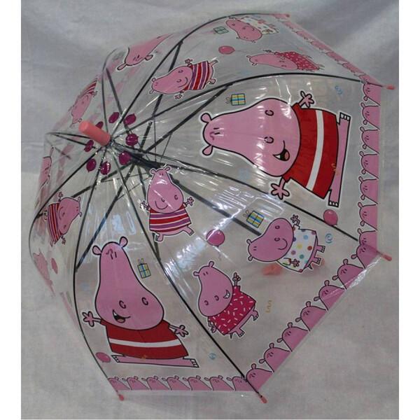 Детский зонтик для девочки прозрачный с бегемотиками трость полуавтомат 8 спиц (31707)