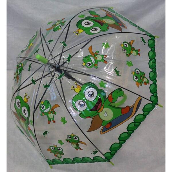 Детский прозрачный зонтик для девочки-мальчика с жабками трость полуавтомат 8 спиц (31731)