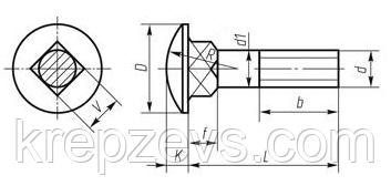 Болт мебельный М5 DIN 603, ГОСТ 7802-81 схема