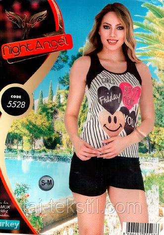 Піжама майка з шортиками якість бавовна і лайкра Night Аngel № 5528, фото 2