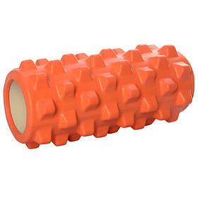 Массажный ролик (рулон) для йоги. Размер 32,5-13,5 см. Цвет оранжевый