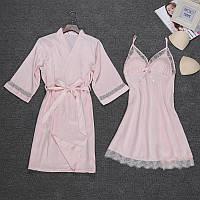 Комплект шелковый пеньюар и ночная рубашка розовый размер 50